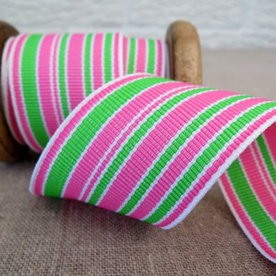 May Arts Ribbon ~ Wide Deckchair Stripe Ribbon ~ Pink, Green and White