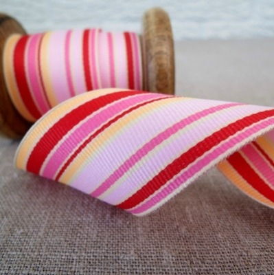 May Arts Ribbon ~ Wide Deckchair Stripe Ribbon ~ Pink, Peach and Red