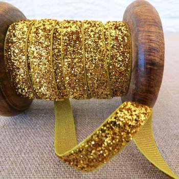May Arts Ribbon ~ Metalic Velvet ~ Gold