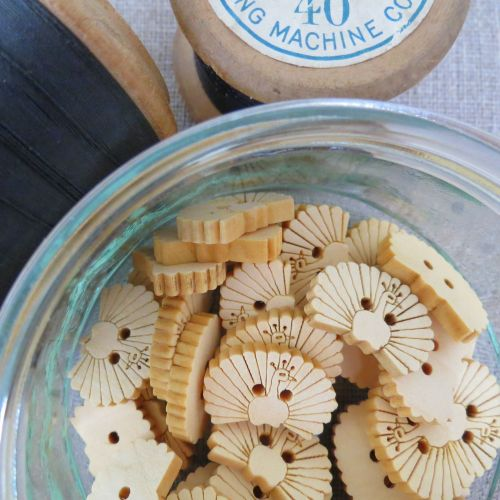 Peacock Wooden Buttons