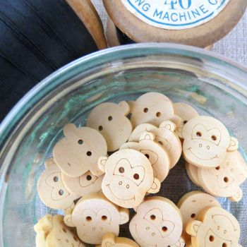 Cheeky Monkey Wooden Buttons