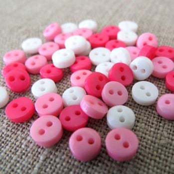 Teeny Buttons ~ Pretty Pink Mix