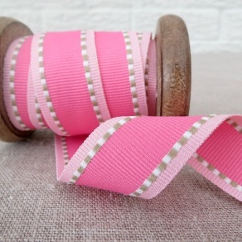 Ebony and Ivory Ribbon ~ Pink Bubbly