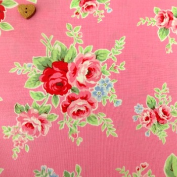 Lecien Fabric ~ Flower Sugar ~ Large Roses Pink