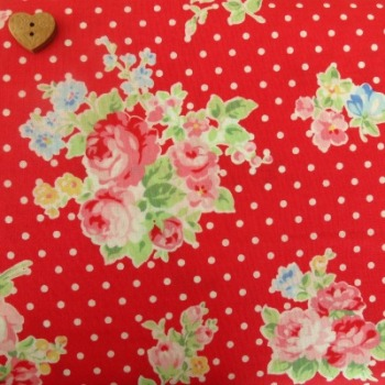 Lecien Fabric ~ Flower Sugar ~ Polka Dot Roses Red