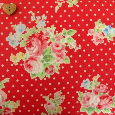 Lecien Fabric ~ Polka Dot Roses Red