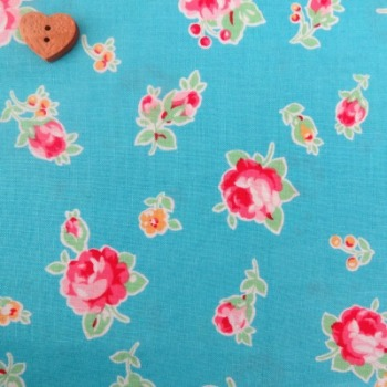 Lecien Fabric ~ Flower Sugar ~ Small Roses Aqua