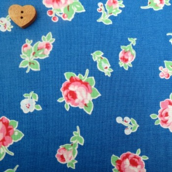 Lecien Fabric ~ Flower Sugar ~ Small Roses Blue