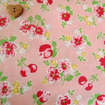 Lecien Fabric ~ Old New 30's ~ Cherries Pink