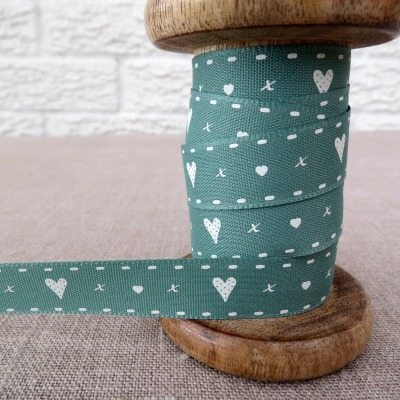 Berisfords Ribbon ~ Hearts n Kisses ~ Green