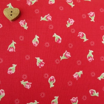 Lecien Fabric ~ Flower Sugar ~ Rosebuds Red