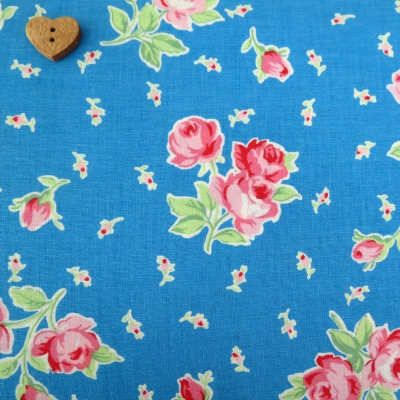Lecien Fabric ~ Flower Sugar ~ Spray Roses Cornflower Blue