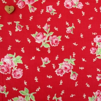 Lecien Fabric ~ Flower Sugar ~ Spray Roses Red