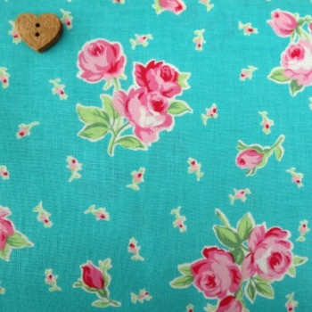 Lecien Fabric ~ Flower Sugar ~ Spray Roses Teal