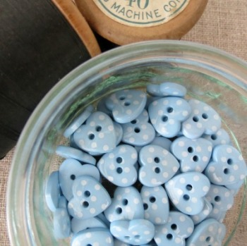 Heart Polka Dot Buttons ~ Blue