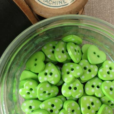 Heart Polka Dot Buttons ~ Green