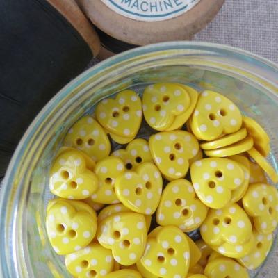 Heart Polka Dot Buttons ~ Yellow