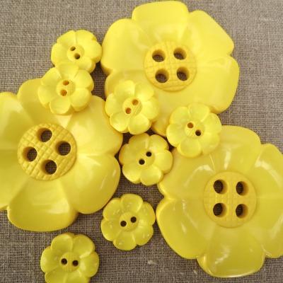Statement Flower Buttons ~ Yellow