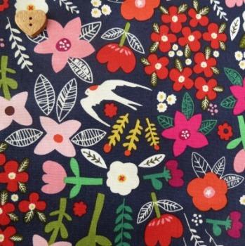 Windham Fabrics ~ Petite Fleur Organic ~ Swallow Garden Navy