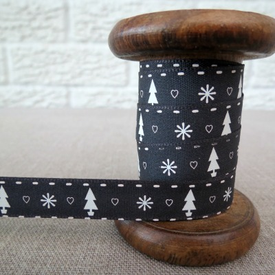 Berisfords Ribbon ~ Trees, Hearts and Snowflakes  ~ Charcoal Grey