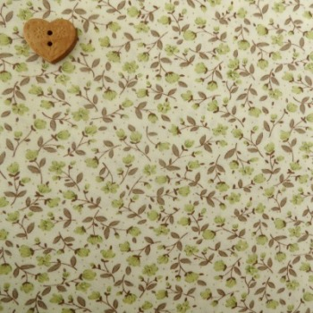 Sevenberry Fabric ~ Stem Flower in Green