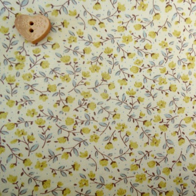 Sevenberry Fabric ~ Stem Flower in Yellow