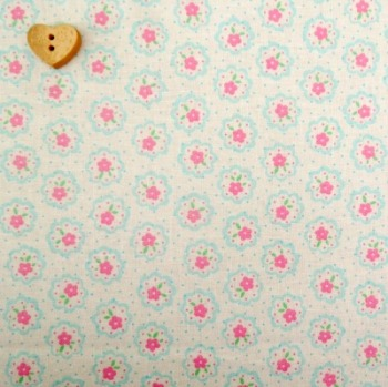 Lecien Fabric ~ Flower Sugar ~ Dottie Scallop Flower White, Pink and Aqua