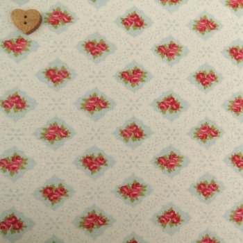 Moda Fabric ~ Ambleside ~ Eyelet Roses Duck Egg Blue