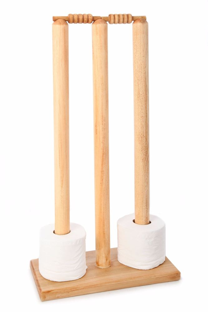 Cricket Stumps Loo Roll Holder - Light Oak Finish