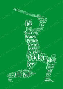 Cricket Print - White on Green