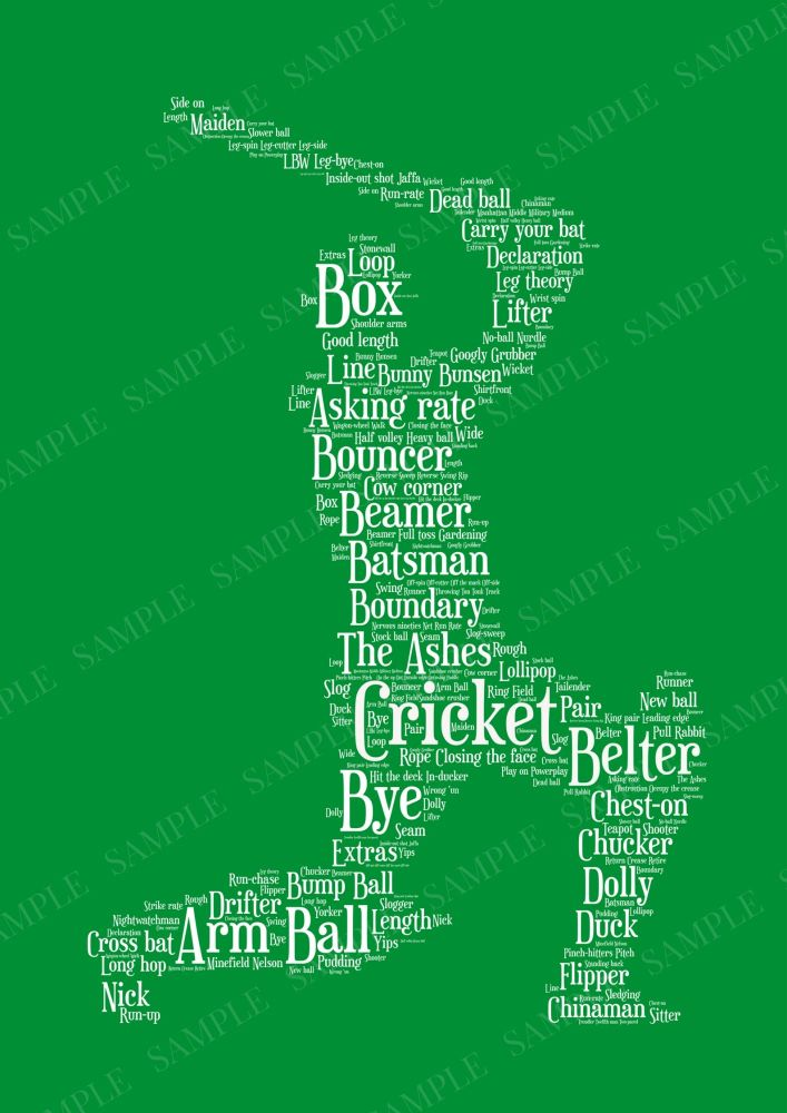 Cricket Print - White on Green