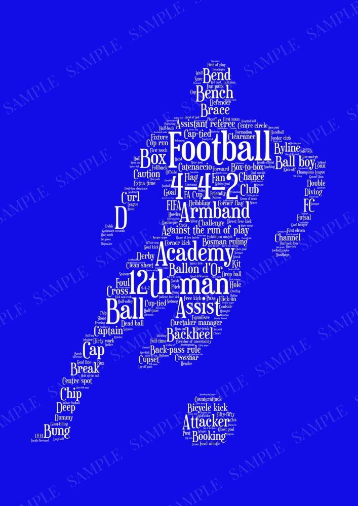 Football Print - White on Blue