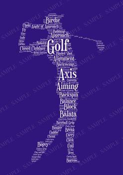 Golf Print - White on Indigo