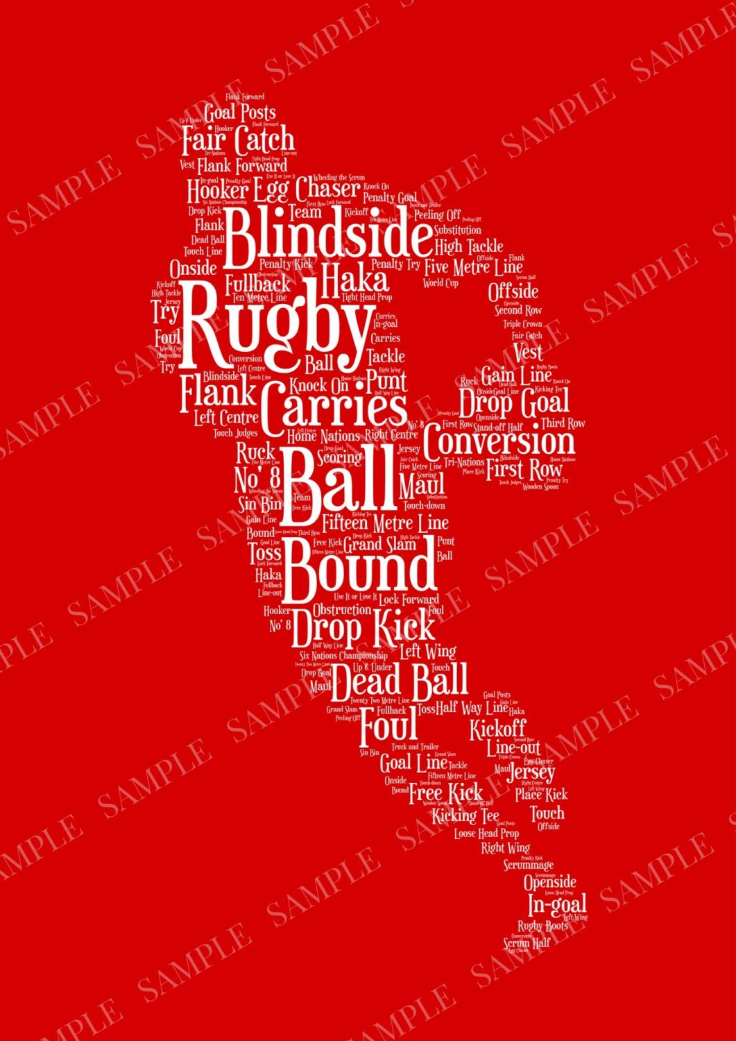 Rugby Print - White on Red