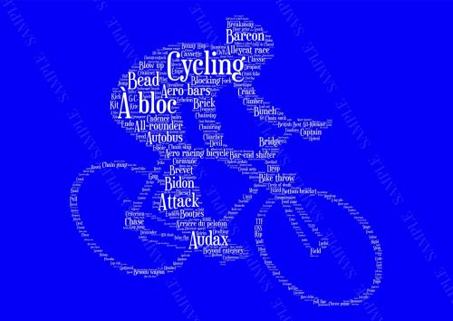 Cycling Print - White on Blue