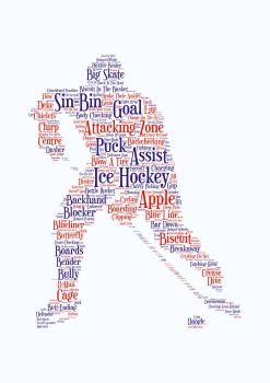 Ice Hockey Print - Coloured on White