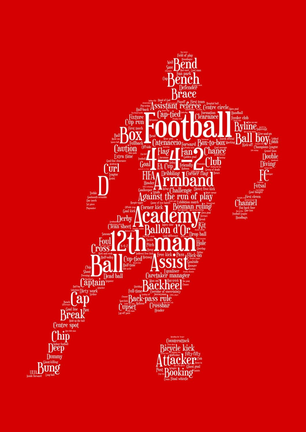 Football Print - White on Red