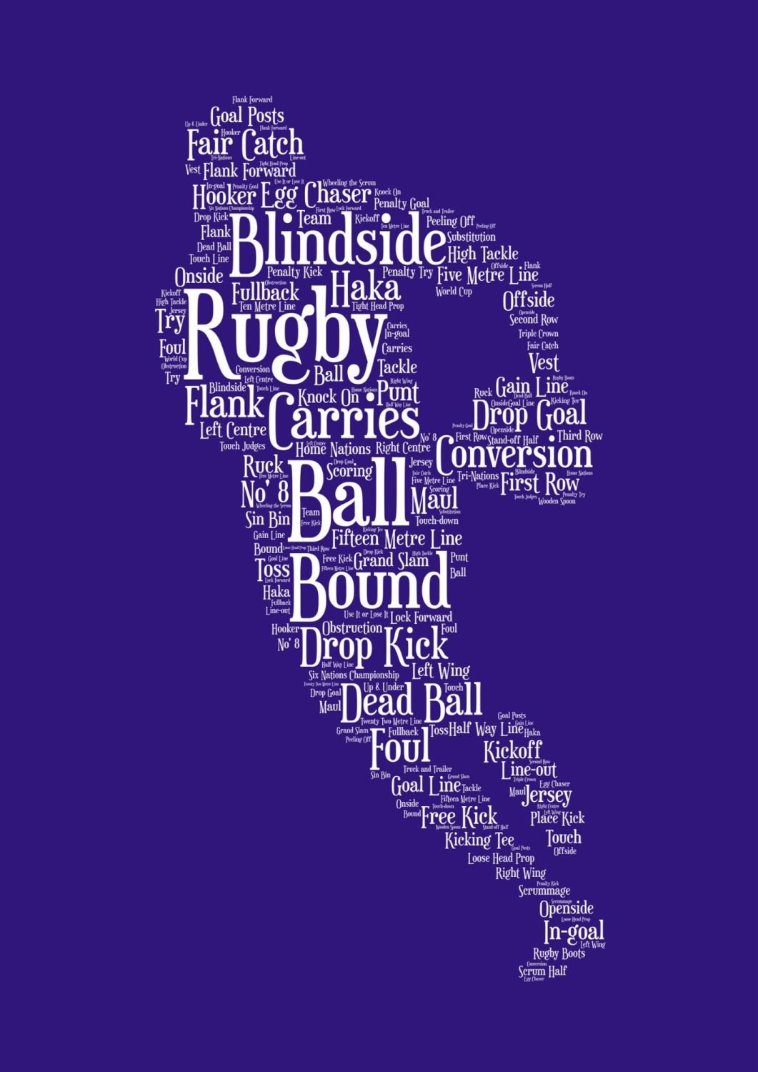 Rugby Print - White on Blue