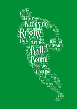 Rugby Print - White on Green