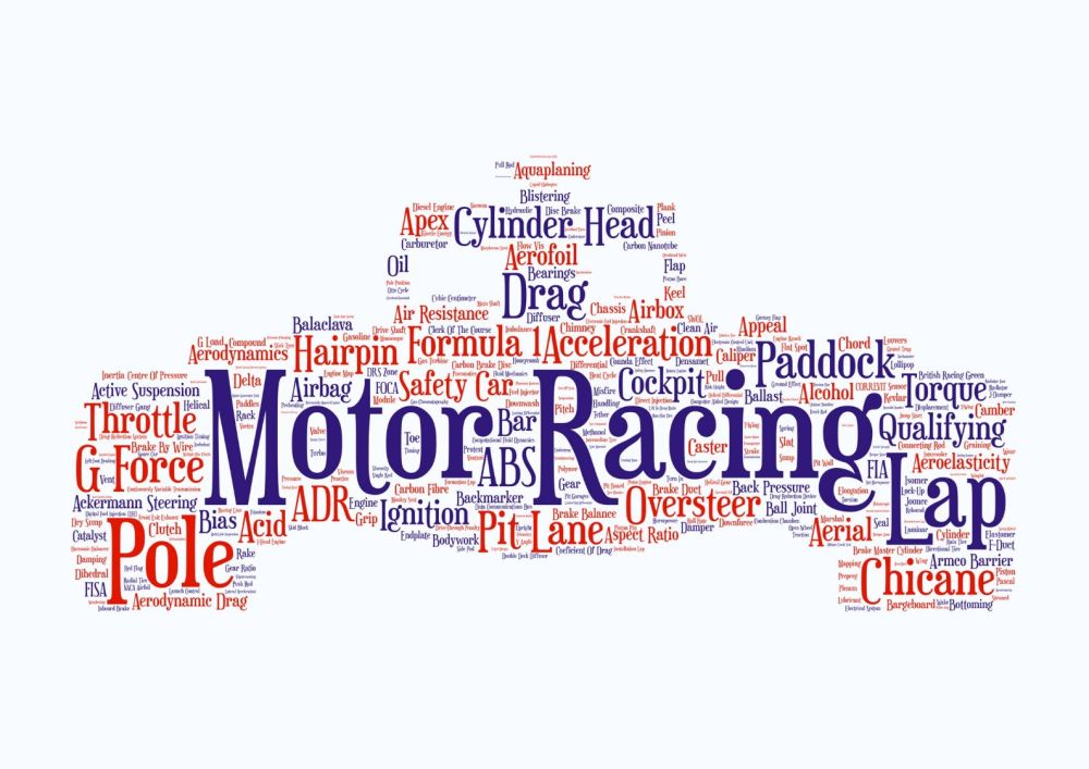 Motor Racing Print - Coloured on White