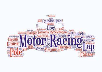 Motor Racing Print - Coloured on White