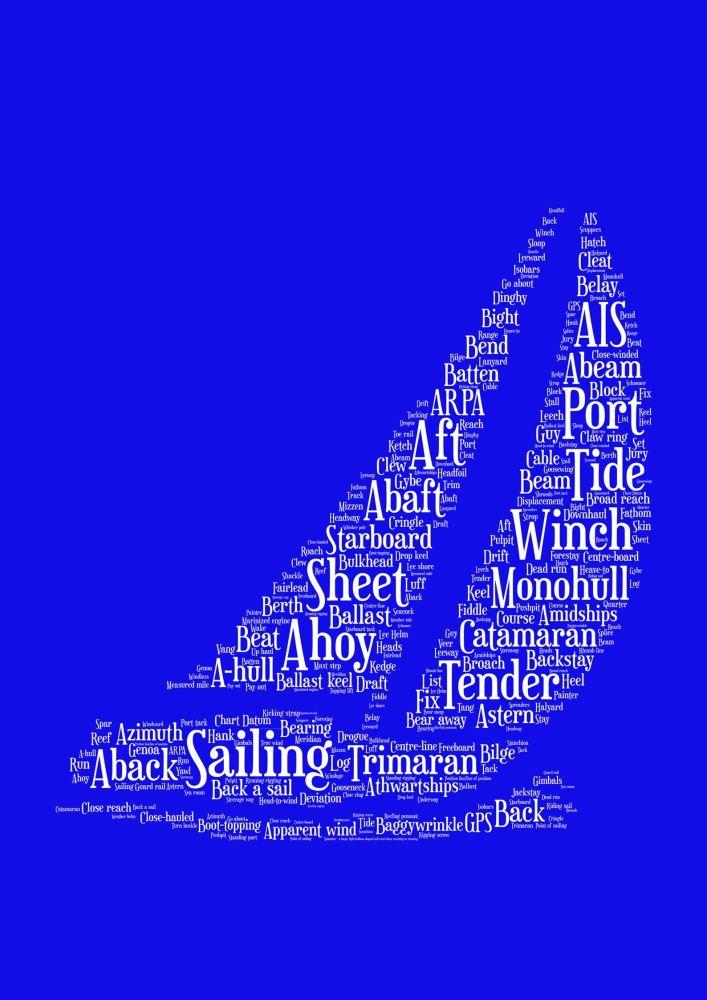 Sailing Print - White on Blue