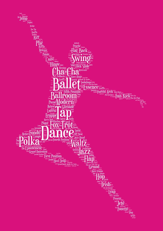 Dance Print - White on Pink