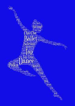 Dance Print - White on Blue