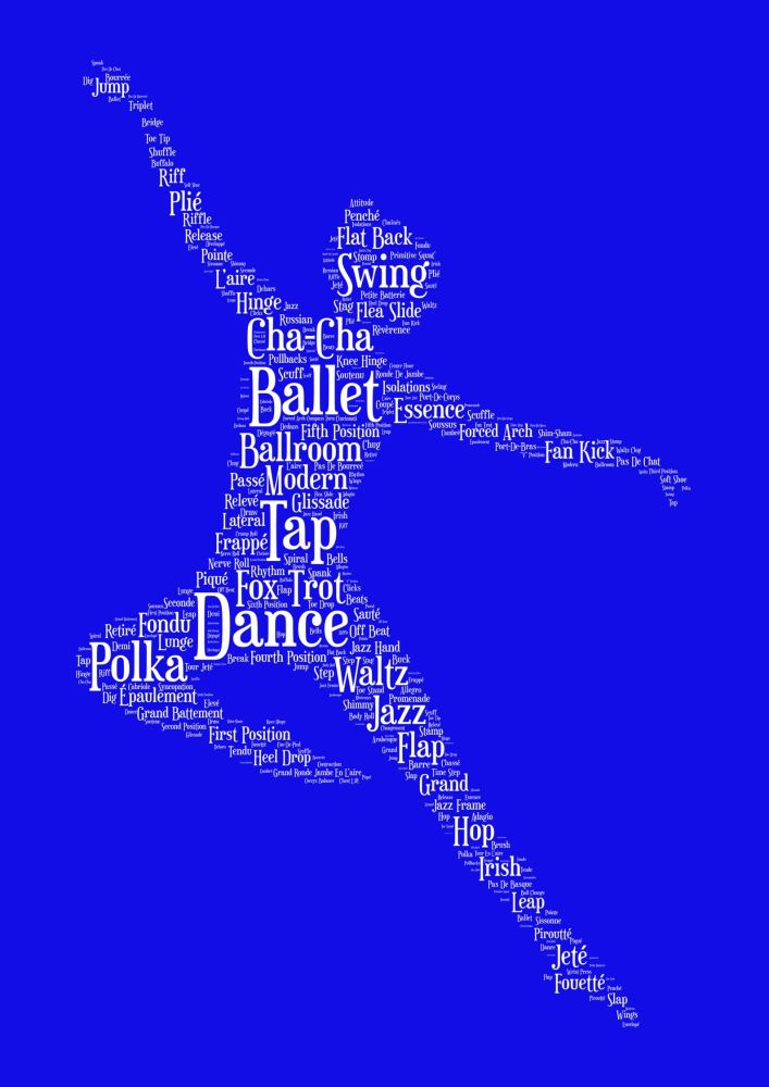 Dance Print - White on Blue