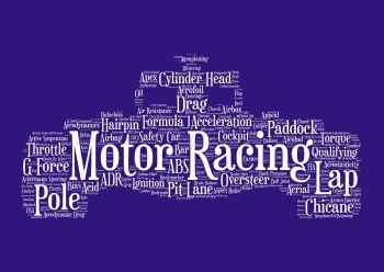 Motor Racing Print - White on Navy