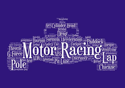 Motor Racing Print - White on Navy