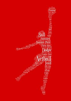 Netball Print - White on Red