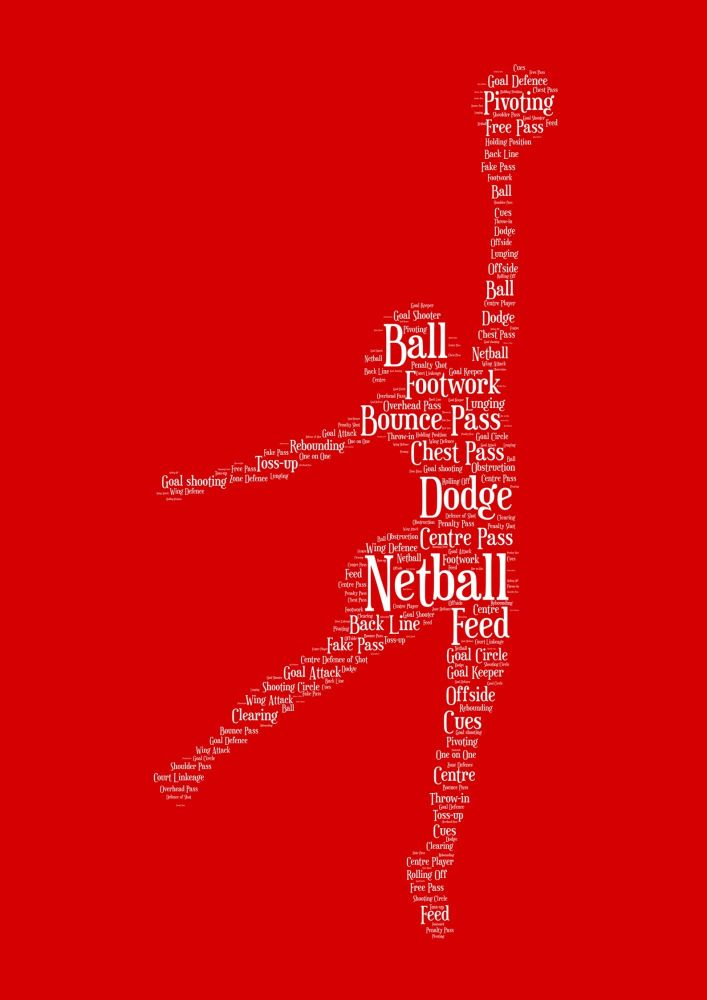 Netball Print - White on Red