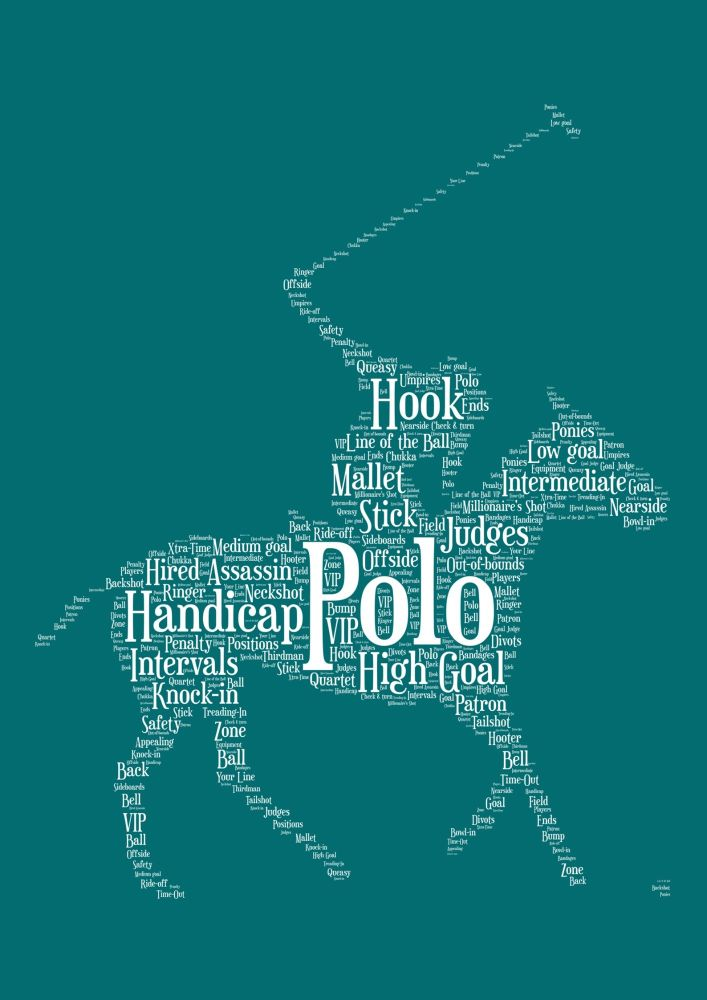 Polo Print - White on Teal